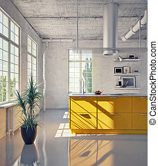modern kitchen in loft interior 3d illustration