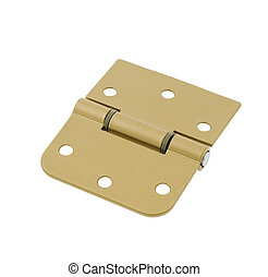 Simple door hinge isolated over white background