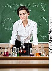 smiley, Química, professor, cercado, químico,...