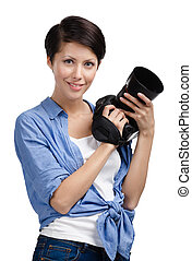Pretty woman-photographer takes snaps - Girl takes images...