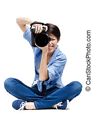 Lady-photographer takes shots - Lady-photographer takes...