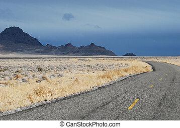 Rural Utah Road - Rural road near Bonneville Salt Flats in...