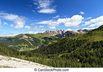 Dolomiti - high Gardena valley - summer landscape of Gardena...