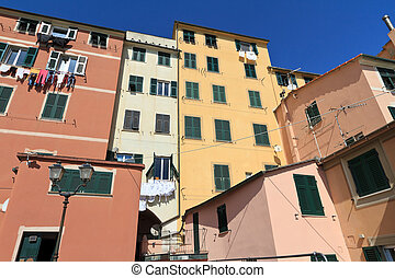 homes in Sori, Italy - characteristic houses in Sory, small...