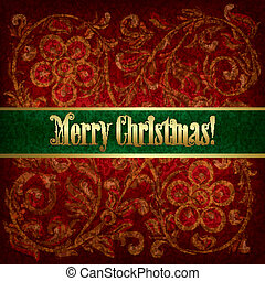 Christmas background with grunge floral ornament - Christmas...
