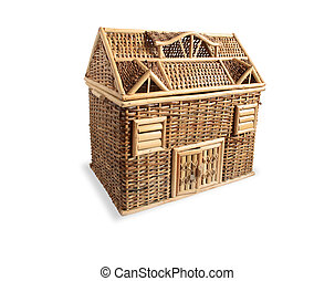 Dolls House - Nice wicker wooden dolls house on white...