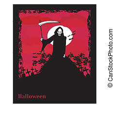 Grim reaper with Halloween sign - vector illustration.