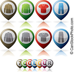 Mans Clothing theme icons set from left to right: Mans...