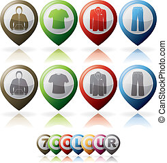 Mans Clothing theme icons set from left to right: Hoodie,...