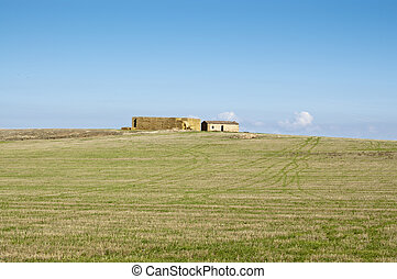 Old straw loft in an agricultural landscape in Ciudad Real...