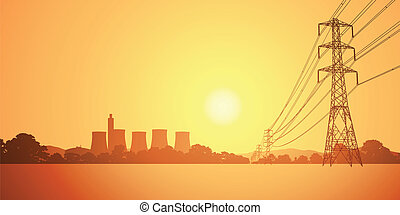 Electrical Power Lines and Electricity Plant with Cooling...