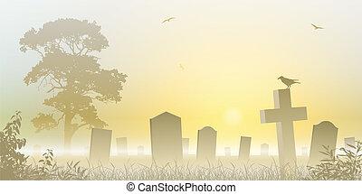 Cemetery Vector Clip Art Royalty -  9.0KB