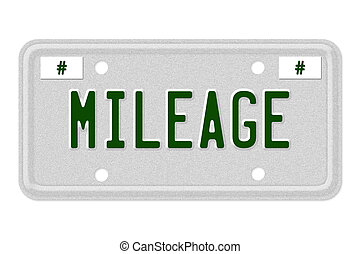 Mileage Car License Plate - The word Mileage on a gray...