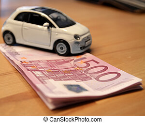Buying a Car - Money with white Car