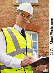 predios, projeto, agrimensor, exterior, construção, profissional, gerente, tijolo, ou, inspetor