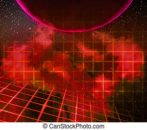 Red Planet Laser Space Background