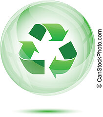 Recycle sign in the green glass sphere