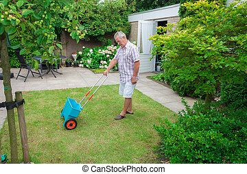 Senior fertilising the lawn - Dutch retired senior...