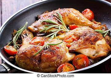 roasted chicken legs with vegetable and herbs