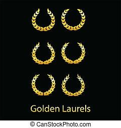 Golden laurels on black background. Vector illustration.
