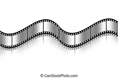 Curved black film sheet on background white