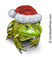 Holiday Frog - Holiday frog as a green amphibian wearing a...