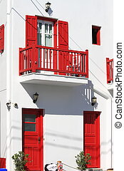 Typical house in Mykonos - Beautiful white house with red...