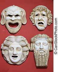 antiguo, grecia, teatro, máscaras