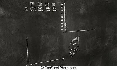 business graphs on blackboard chalkboard. computer...