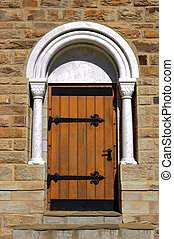 A door of the Christuskirche in Windhoek panorama, Namibia -...