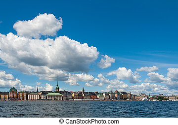 Skeppsbron Quay waterfront, Stockholm - View across the bay...