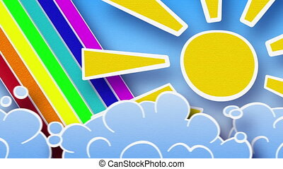 sun rainbow and clouds in sky loop - sun rainbow and clouds...
