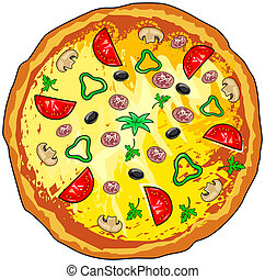 Pizza - Vector illustration of pizza on white background