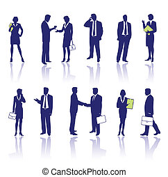 Business people silhouettes isolated on white background
