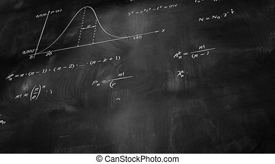 math physics formulas on chalkboard tilting, computer...