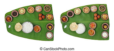 Sumptuous and wholesome onam meals called sadhya in kerala....