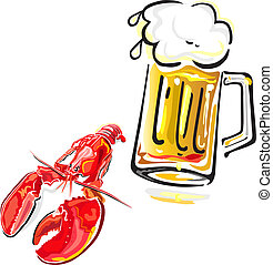 Crawfish and beer - Vector illustration of crawfish and mug...