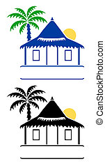 Bungalow signs - Vector llustration of a bungalow and...