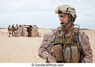 desert checkpoint - US marines in the desert near the...