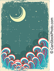 Vector grunge illustration with moon and sea waves