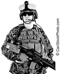 US marine in the MARPAT uniform and protective military...