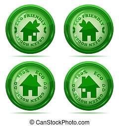 Vector illustration of a set of glossy green house icons isolated on white background