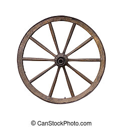 Wooden wheel - Old wooden wagon wheel on white