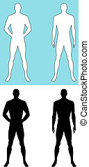 Man silhouette - Male sillhouettes isolated on white...