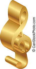 Vector illustration of 3d gold clef