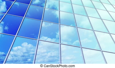 clouds reflected in windows loop - clouds reflected in...