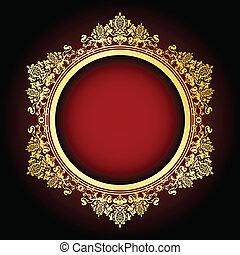 Vector gold and red frame