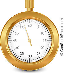 gold stopwatch - Vector illustration of gold stopwatch