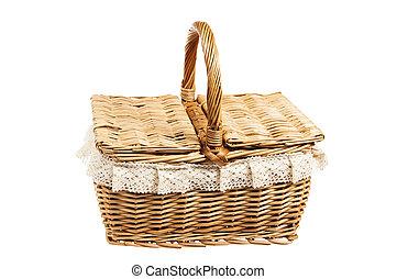 Picnic basket, isolated on white - Picnic basket, isolated...