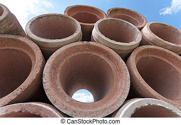 drain pipes - piled up concrete drain pipes
